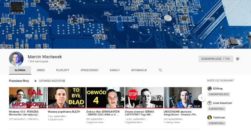Obrazek kanału Marcin Wacławek na youtube, naprawa laptopów.