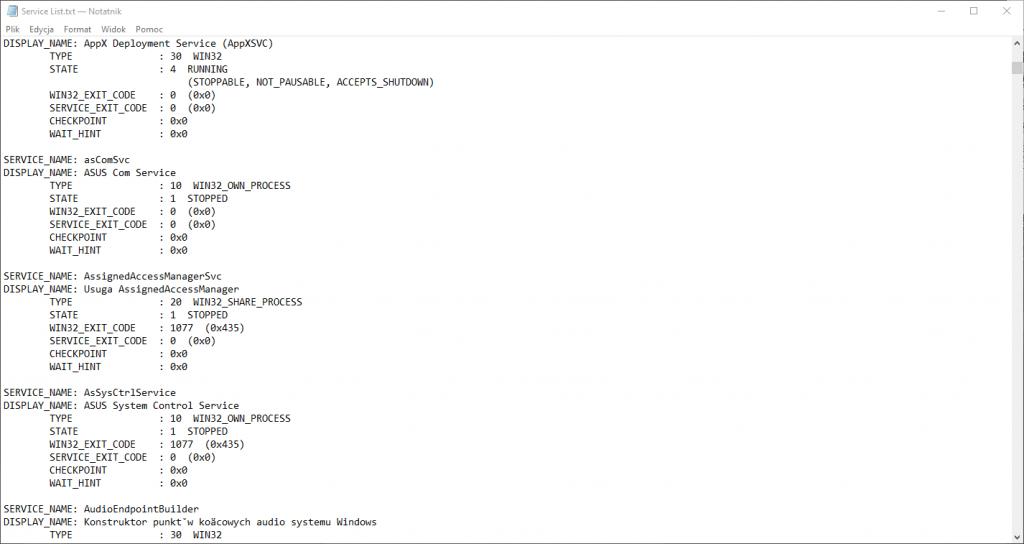Lista usług zapisana w pliku.