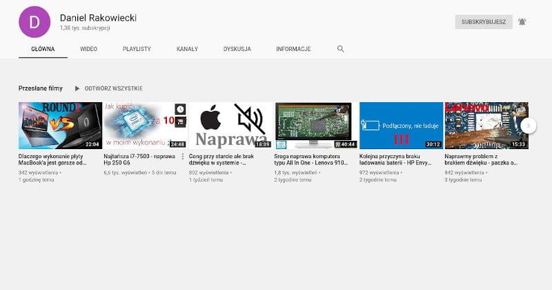 Kanał na youtubie. Tak powinno wyglądać serwisowanie laptopów!